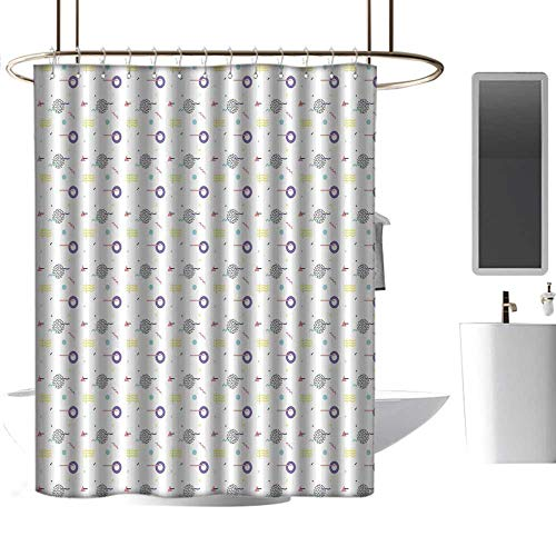 - coolteey Shower Curtains for Bathroom Gold Geometric,Retro Memphis Style Artistic Modern Figures Dots Waves Tiles Trippy Graphic Art,Multicolor,W48 x L84,Shower Curtain for Shower stall