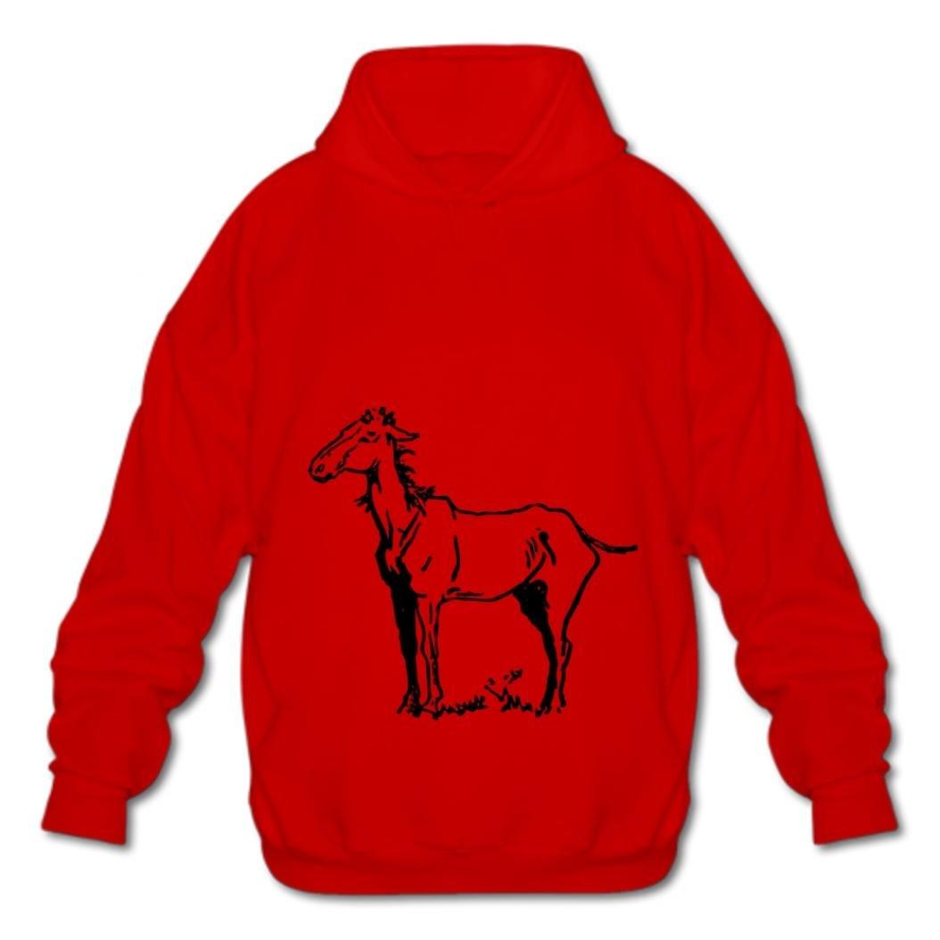 Tngjijish Cotton Pullover Sweatshirts Fashion Mens Hoodies Fashion Hoodies-03 Cartoon Horse DFyn