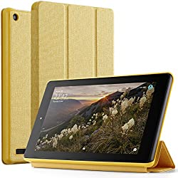 Poetic Slimline Fire 7 2017 Premium Fabric Slim-Fit lightweight Trifold Cover Stand Folio smart cover Case with Auto Sleep / Wake for Amazon Fire 7 (7th Generation, 2017 Release) Yellow