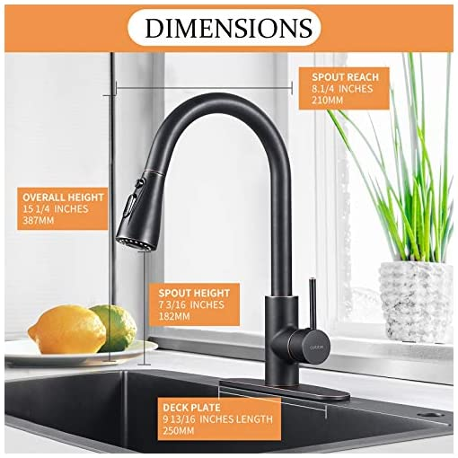 Kitchen Kitchen Faucet with Pull Down Sprayer, Cobbe High Arc Gooseneck Kitchen Sink Faucet, Stainless Steel Single Handle Lead… modern sink faucets