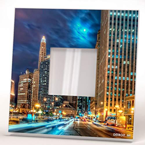 Night Downtown Skyline Detroit City Michigan View Wall Framed Mirror Decor Fan Art Home Design Gift