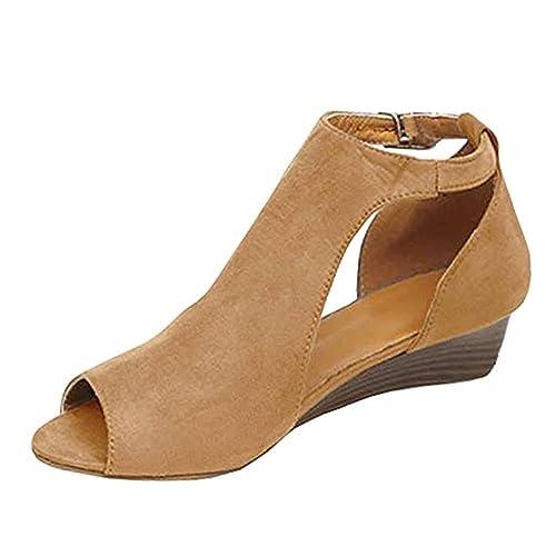Minetom Sandalias De Mujer Verano Cuña Peep Toe Cabeza Pescado Zapatos De  Tacón Alto Chancletas Zapatillas Sandals Romanas  Amazon.es  Zapatos y ... 1573e958a725