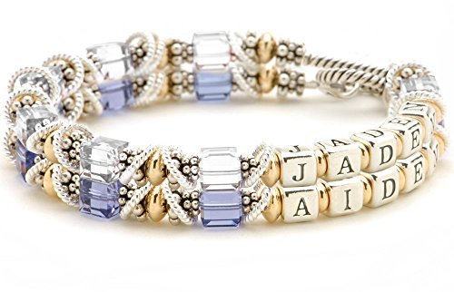 - Double Strand Personalized Mothers Bracelet - Childs Names & Birth Months, Sterling Silver Beads