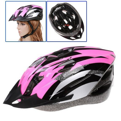 Dcolor Cycling Bicycle Adult Bike Handsome Carbon Helmet with Visor Pink Head Circumference 54-65cm/ Head-width Below 16cm
