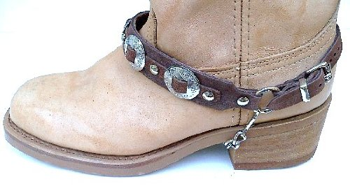 Boot Accessories - Western Boots Boot Chains Brown Leather with 3 1