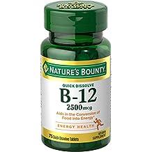 Nature's Bounty B-12 2500 mcg Supplement Quick Dissolve Natural Cherry Flavor - 75 Tablets