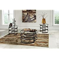 Signature Design by Ashley Kaymine 3 Piece Occasional Table Set, Black