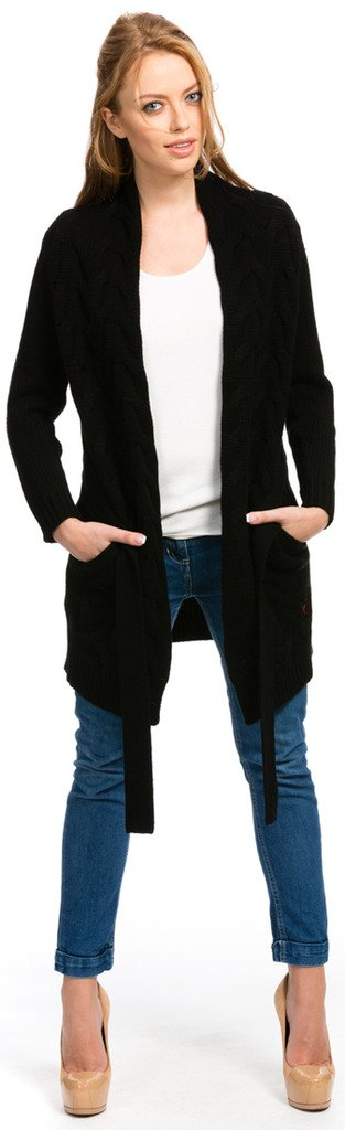 Citizen Cashmere Long Cardigan - Cable Knit - by (Black S) 41 156WC-02-01