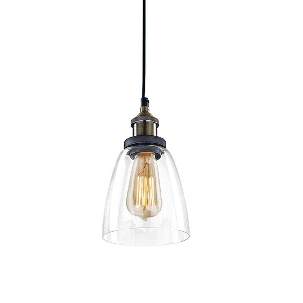 CLAXY Ecopower Industrial Edison Mini Glass 1-Light Pendant Hanging Lamp Fixture
