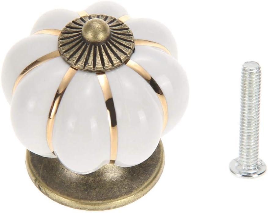 8pcs Ivory AKORD 8X Ceramic Vintage Pumpkin Cabinet Drawer Knob Door Handle