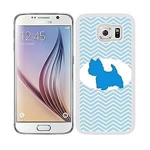 Funda carcasa TPU (Gel) para Samsung Galaxy S6 diseño perro chihuahua estampado colores huellas borde blanco