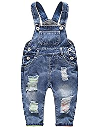 ARAUS Denim Strap Pants Baby Jeans Ripped Holes Bib Overalls Jumpsuit for 3-36M