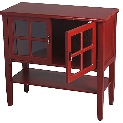 Heather Ann Creations 2 Door Console Cabinet With 4 Pane Glass Insert Red Renovation Store