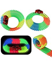 Akokie Glow Cars with 2 LED, Glowing Race Track, Race Cars Toy, 240 Pcs Tracks Blend Flexible Variable Set Glow in the Dark for Kids 3 4 5 6 7 8
