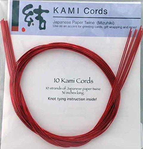 Cord Paper Mizuhiki - RED MIZUHIKI - Package of 10 strands