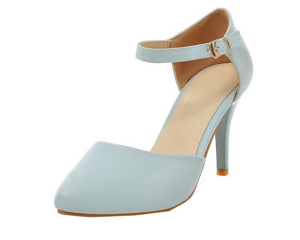 AllhqFashion Femme Cuir PU Cuir Boucle d Fermeture d orteil Stylet Stylet Sandales,FBUFLC013844 Bleu 8150212 - automatisms.space