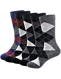 Men's Cotton Thermal Argyle Socks 3/5Pack Classic Casual Socks Chekered Dress Socks For Men Size 6-12