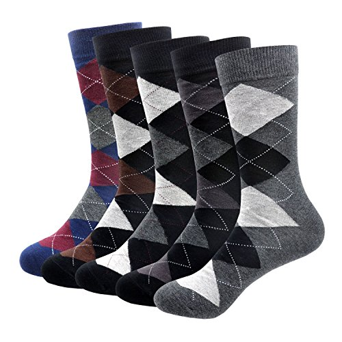 MORECOO Men's Cotton Thermal Argyle Casual Socks Chekered Dress Socks For Men (Argyle 5pack)