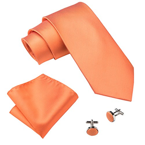 Tie Mens Silk Scarf - Barry.Wang Solid Color Tie Set Orange Silk Ties for Men Hanky Cufflinks