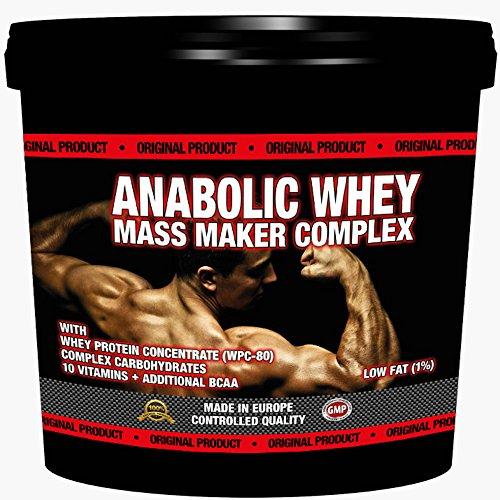 ANABOLIC WHEY MASS MAKER COMPLEX 3000g / 3kg | Für Hardgainer | Unterstützt den Muskelaufbau | Mit Whey Protein und Maltodextrin | Reich an Aminosäuren, BCAA & Glutamin| Erdbeer Geschmack