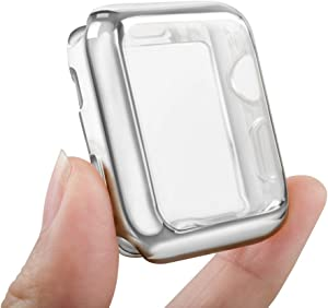 top4cus Environmental Anti-Resistant Soft TPU Lightweight 38mm Iwatch Case All-Around Protective Screen Protector Compatible Apple Watch Series 5 Series 4 Series 3 Series 2 - Silver