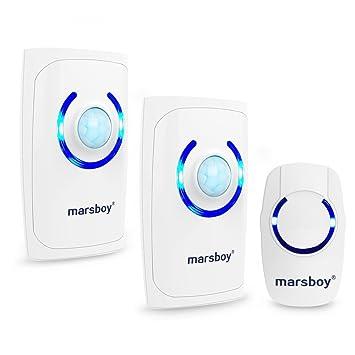 marsboy - Timbre inalámbrico 4 en 1, con Alarma, Sensor de Movimiento, luz