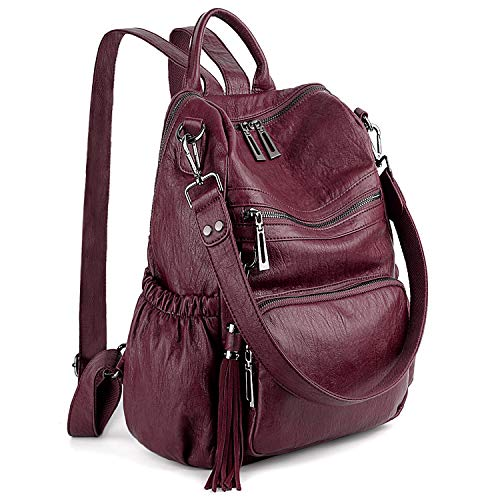 UTO Women Backpack Purse PU Washed Leather Convertible Ladies Rucksack Tassel Zipper Pocket Shoulder Bag Pure Red ()