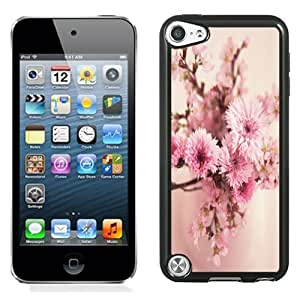 NEW Fashion Custom Designed Cover Case For iPod 5 Soft Pink Flowers Black Phone Case