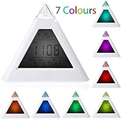 Fashion 7 LED Changing Color Pyramid Digital LCD Alarm Desk Clock Thermometer