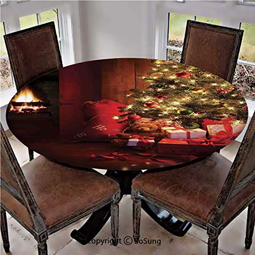 Elastic Edged Polyester Fitted Table Cover,Xmas Scene with Decorated Luminous Tree and Gifts by the Fireplace Artful Image,Fits up 45
