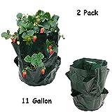 Luony 2 Pack 11 Gallon Strawberry Planter Bag Growing Bag with 8 Pocket Planter Grow Bag
