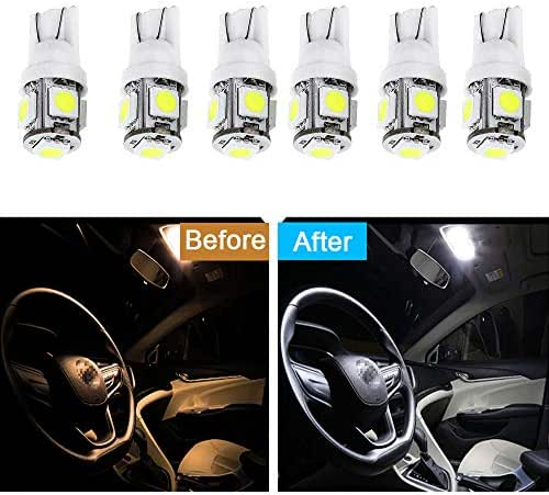 cciyu 6 Pack White T10 W5W Wedge 168 194 LED Bulb Replacement fit for Dome Light Map Light Trunk Cargo Area Light Glove Box Light License Plate Light