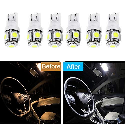 Rotating Mountaineers Lamp - cciyu 6 Pack White T10 W5W Wedge 168 194 LED Bulb Replacement fit for Dome Light Map Light Trunk Cargo Area Light Glove Box Light License Plate Light