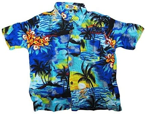 Double Duck Loud Hawaiian Boys Shirt Bright Orange with Palm Trees and Sunsets Holiday New