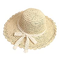 Greenery-GRE Summer Beach Sun Straw Hats for Toddler Kids Girls Wide Brim Lace Bow Floppy Packable Travel Bucket Hats UPF 50+ Crushable UV Fishing Cap Foldable Sun Protection Hat