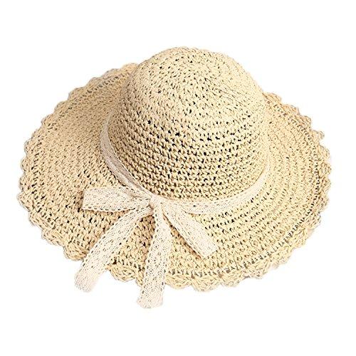 8edf95eda94ef Greenery-GRE Summer Beach Sun Straw Hats for Women Ladies Wide Brim Lace  Bow Floppy