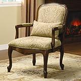 William's Home Furnishing CM-AC6980 Waterville Arm Chair, Beige/Dark Cherry