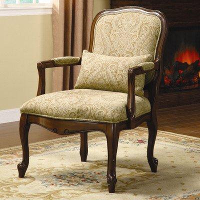 (William's Home Furnishing CM-AC6980 Waterville Arm Chair, Beige/Dark Cherry)