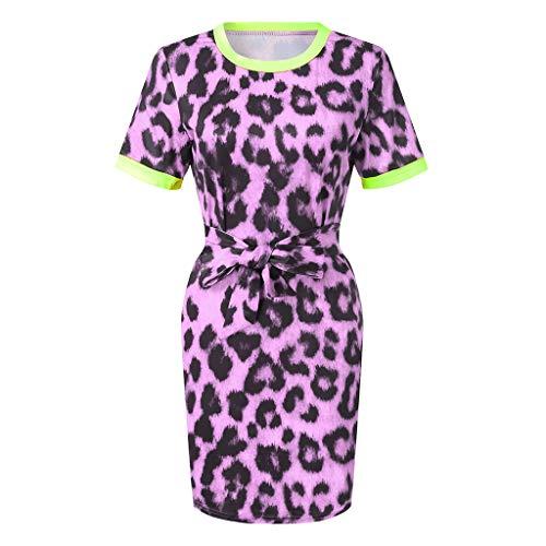 per Dress con Women Leopard Short Vintage piuttosto Office maniche Candlly Flowers Party regali Bellissimi Ginocchio viola gonne corte nFt6wF0x1