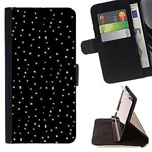 Lunares de la estrella Cielo Negro Punk Dots- Modelo colorido cuero de la carpeta del tirón del caso cubierta piel Holster Funda protecció Para Apple (5.5 inches!!!) iPhone 6+ Plus / 6S+ Plus