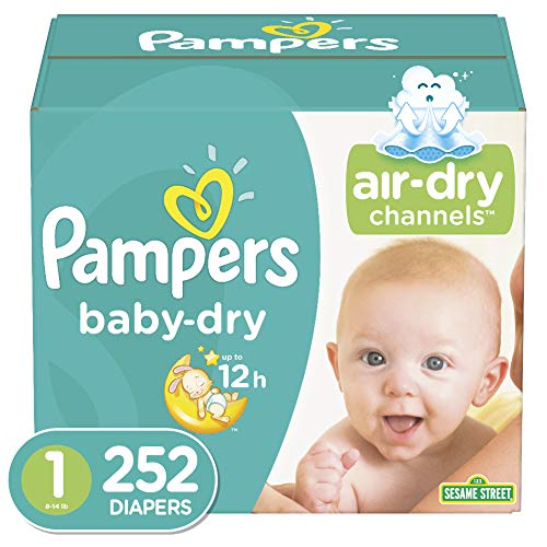 Diapers Newborn / Size 1 (252 Count) (8-14 lb), Pampers Baby Dry Disposable Baby Diapers, ONE MONTH SUPPLY (Luvs Pampers Newborn)