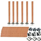 Mlambor 100 Piece 5'' (13130) Natural Wood Candle Wicks with Metal Bases, for Candle Making, Candle DIY, 50 Sets