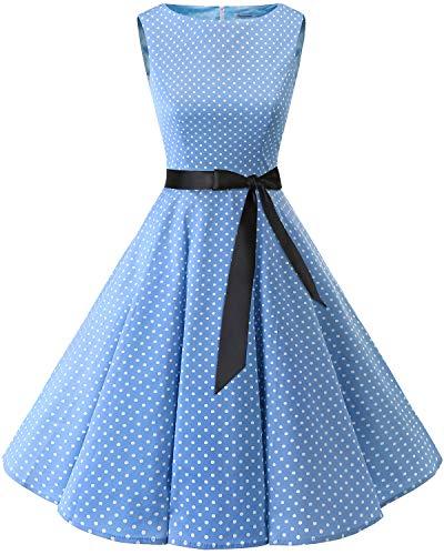Bbonlinedress Women's 1950s Audrey Summer Vintage Rockabilly Swing Dress Blue Small White Dot - Polka Dress Womens In Dot