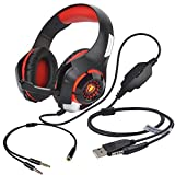 Image of Stereo Gaming Headset for PS4 Xbox One, Beexcellent 3.5mm Bass Over Ear PC Gaming Headphones with Mic/Surround Sound/Noise Isolation/Volume Control/LED Light for Laptop/Mac/iPad/Smartphone/Computer
