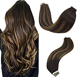 Googoo Balayage Human Hair Extensions Tape in Ombre Dark Brown to Light Brown Natural Tape in Hair Extensions Remy Straight 50g 20pcs 16 inch