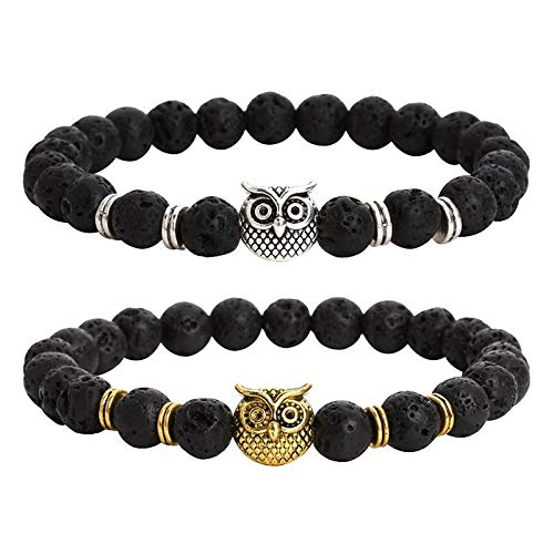 Arget Stylish owl Bracelet Charm Beaded for All Ages and Unisex Bracelet Made (Gold) (Owl Beaded Bracelets)