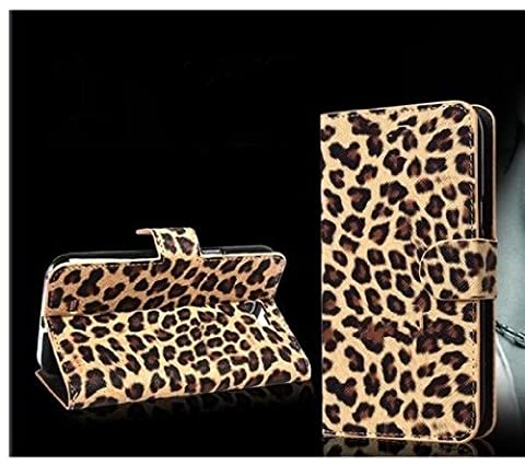 Wallet Leopard Skin Flip PU Leather Pouch Stand Case Cover For Alcatel One Touch Pop Mega LTE A995G (Alcatel A995g Wallet Case)
