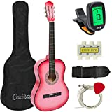 Best Choice Products 38in Beginner Acoustic Guitar Starter Kit w/Case, Strap, Tuner, Pick, Strings - Pink