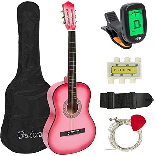 Best Choice Products 38in Beginner Acoustic Guitar Stringed Musical Instrument Bundle Kit w/Nylon Case, Strap, Digital E-Tuner, Pick, Pitch Pipe, Strings - Pink