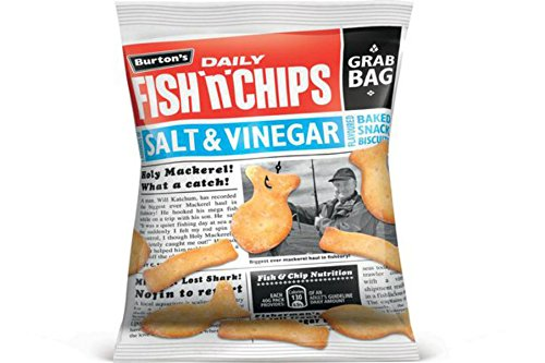 Burton's Daily Fish n Chips Salt Vinegar Flavour Baked Snack Biscuits 40g Pack Of 20